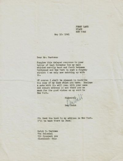 Ben Hecht Typed Letter Signed